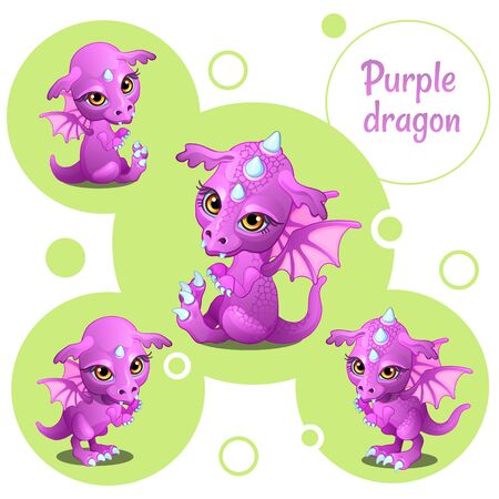 literary characters: Four cute purple dragon, individual icons Illustration