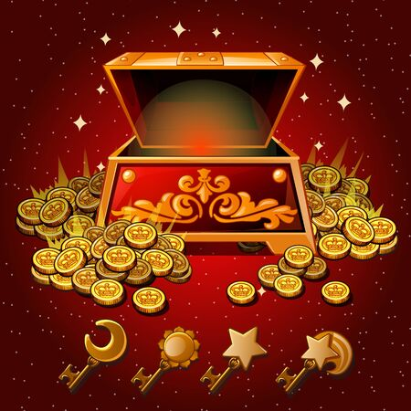 monies: Open box with Royal gold coins and magic keys on a red background