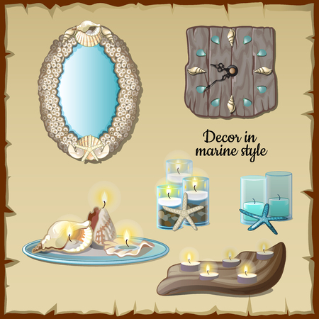 clam illustration: Romantic decoration with candles in marine style, beige vintage background