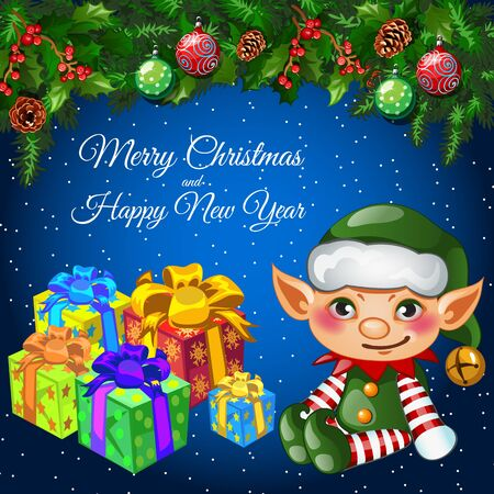 helper: Holiday card with Christmas decor, helper elf and gifts