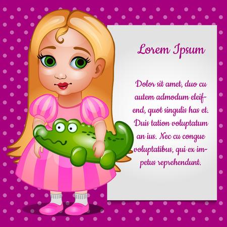 fille de poupée en robe rose avec des jouets et de la carte pour votre texte