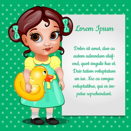 green dress: Girl in green dress with toy and card for text Vettoriali
