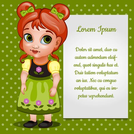 post teen: Vector girl doll redhead with card for your text Illustration