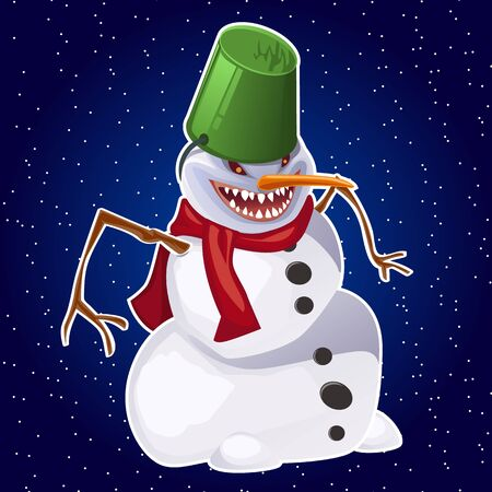 carrot nose: Evil snowman wearing carrot nose, red scarf and bucket on head Illustration