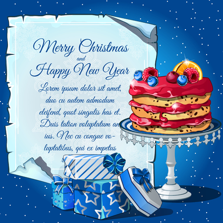 christmas cake: Christmas cake with berries, gift boxes and card for your text