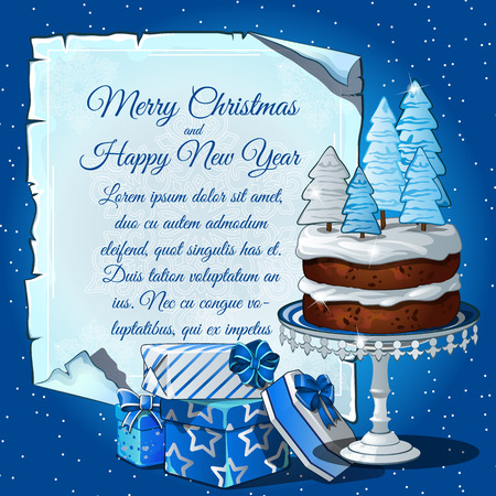 christmas cake: Christmas cake with snow tree, gift boxes and card for your text