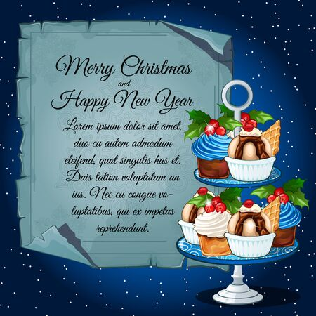 fruitcakes: Cupcakes with holly berry and card for your text