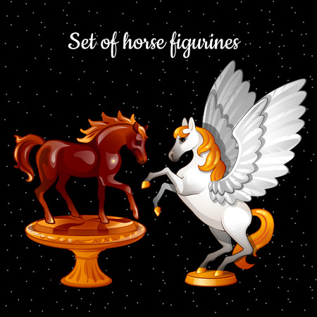 gelding: Set of figures flying magical horses on a black background