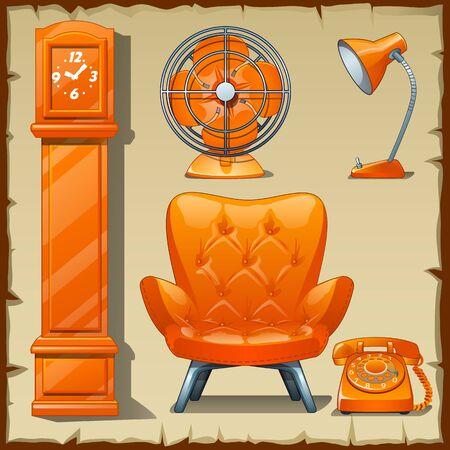 arredamento classico: Carta luminosa con set di oggetti Cabinet classica in arancione