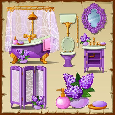 washbowl: Bright card with interior objects of a bathroom in purple