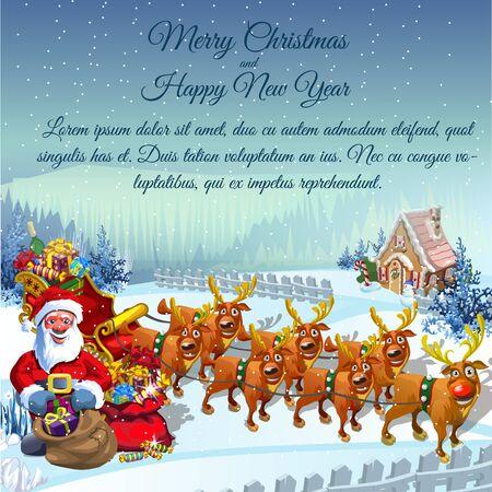 renos de navidad: Postal de la vendimia Santa con un trineo lleno de regalos y sus renos ayudante en un paisaje rural de invierno