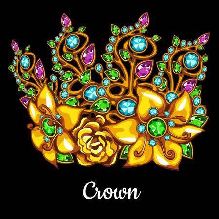Precious Golden crown with jewels and floral ornament on a black background Illustration