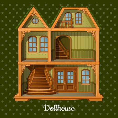 balcony view: Modern three-storey dolls house on a green background Illustration