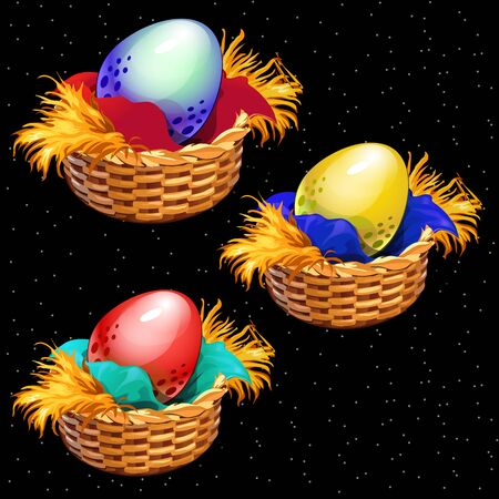 cartoon easter basket: Three colored eggs closeup in straw baskets on a black background