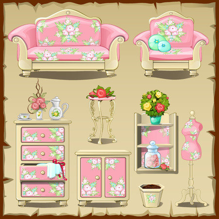 Card with pink iupholstered nteriors objects, walk-in closet Ilustração