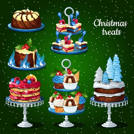 fruitcakes: Great set of desserts for the Christmas holidays winter decor