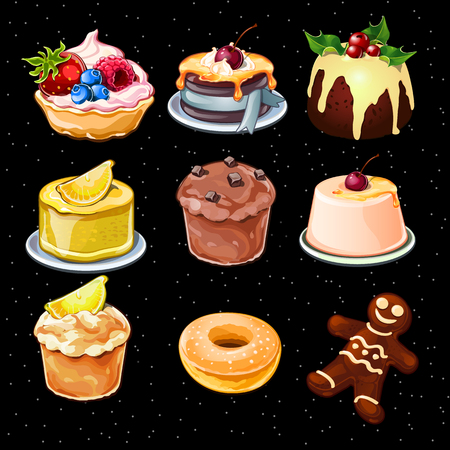 fruitcakes: Set of 9 desserts icons on a black background, cupcakes, puddings and other Illustration