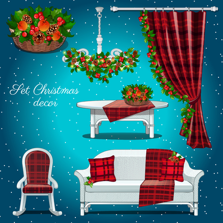 chequered ribbon: Classic interior of the hall with Christmas decor on a blue background