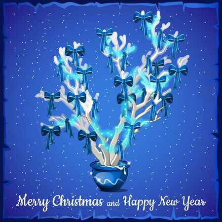 glow stick: Christmas card decorated with silver tree on a blue background