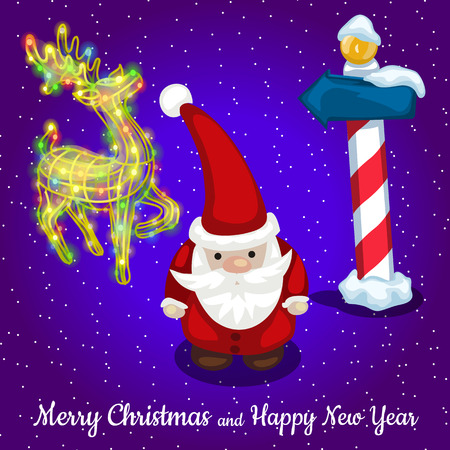 reindeer silhouette: Christmas card Santa with reindeer silhouette and road sign Illustration