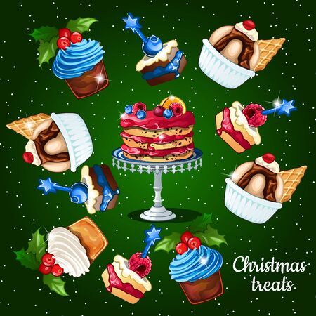 fruitcakes: Great set of desserts for the Christmas time, 10 icons on a green background