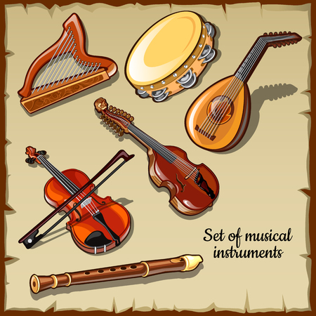 lute: Set of string and wind musical instruments, six icons Illustration
