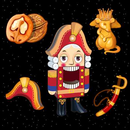 nutcracker: Set Nutcracker toys and accessories for it, 5 icons for your design needs