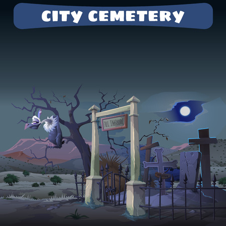 gryphon: Abandoned cemetery in the desert and guard Gryphon, Wild West