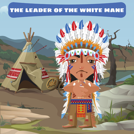 fictional character: Leader Indian, camp in the wild landscape, fictional character Illustration