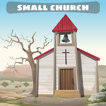 wilderness: Little Church in the wilderness, cartoon Wild West