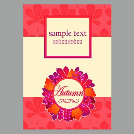 holiday card: Poster in red colors with autumn leaves for your design needs