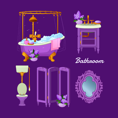 shower curtain: Interior objects for a bathroom on a purple background