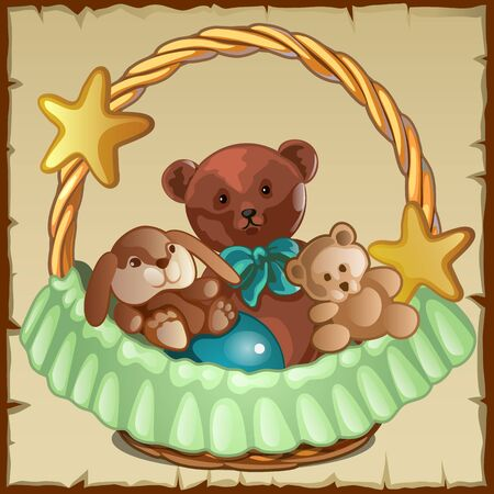 stuffed: Group of small Teddy friends sits in a basket, childrens toy