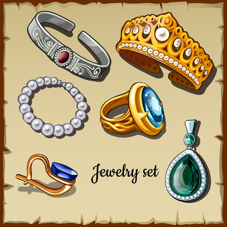 Postcard set of jewelry made stones, six icons of gold and silver