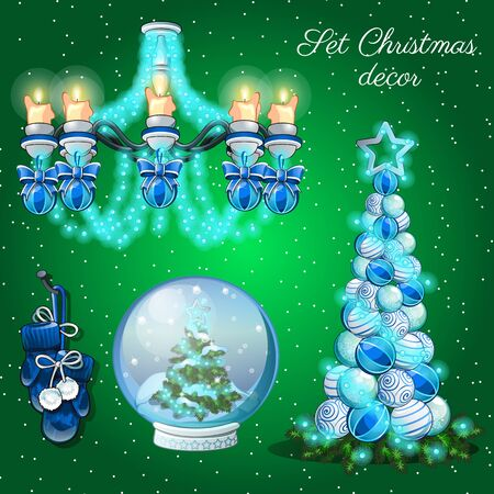 christmas time: Interior decoration in Christmas time, set of 7 items