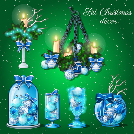 christmas time: Interior decoration in Christmas time, set of 6 items on a green background Illustration