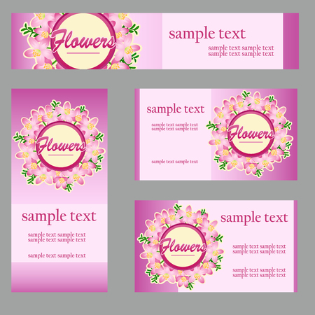 Set of cards with floral disign in the same style and different size and shape for your business needs
