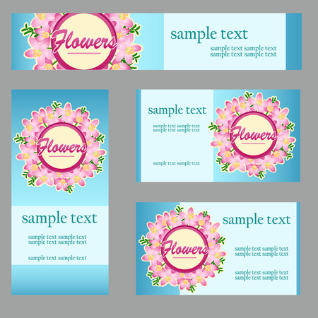 disign: Set of four cards with floral disign in the same style for your business needs