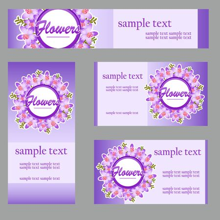 disign: Set of four cards with buttercup disign in the same style for your business needs