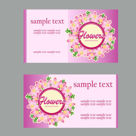 disign: Two floral style cards with lilac disign in pink