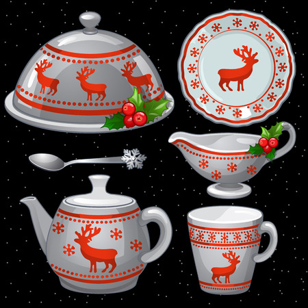 bar ware: Cookware set for Christmas feast, six items on a black background