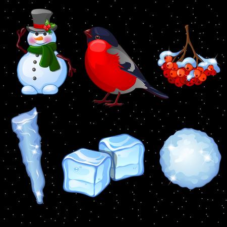 rowan tree: Postcard with set of winter and Christmas symbols, six items
