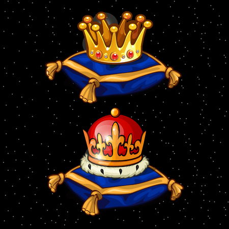 Two Royal crown on the pads, heirloom on a blac background Illustration