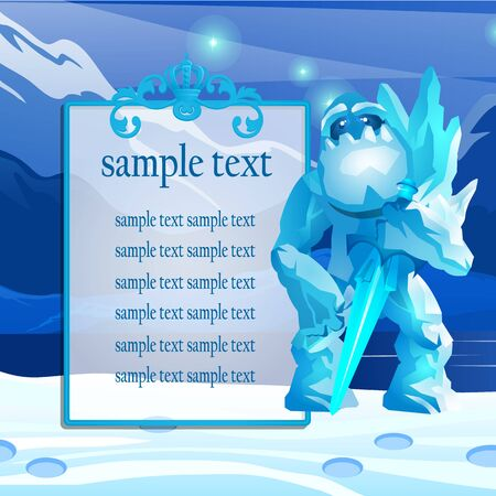 refrigerated: Cute monster from the ice in the mountains, poster with space for text Illustration