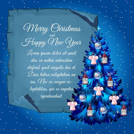 playbill: Greeting card in blue Christmas tree with angels