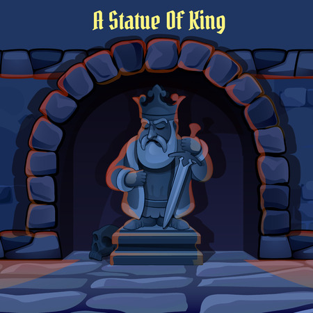 scepter: Ancient stone statue of king in the dark dungeon