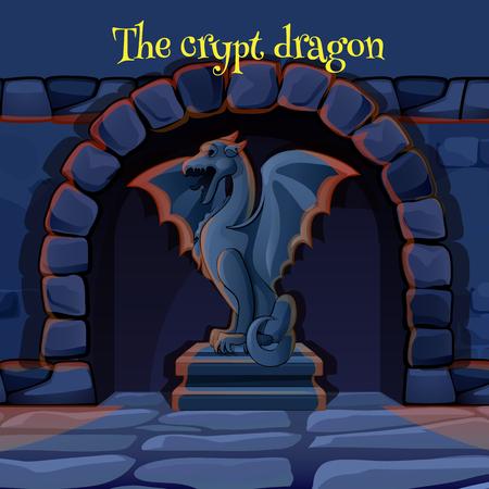 dungeon: Ancient stone statue of a gargoyle in the dark castle dungeon