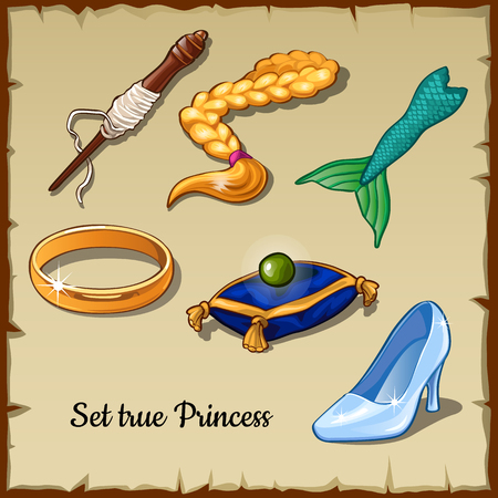 spindle: Set of six  specific items for a true Princess, drawn vector items Stock Photo