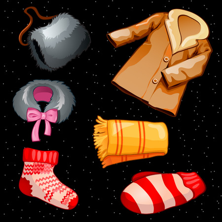 hosiery: Warm winter clothes for boys and girls, six vector items