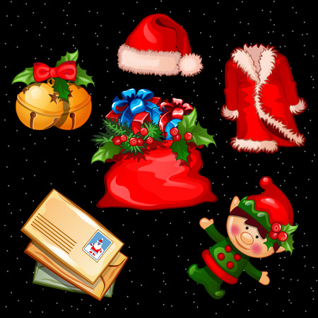 six objects: Christmas set of accessories, clothes and objects, six items for your needs Illustration